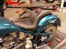 Custom reupholstered motorcycle seat