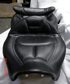 Beautifully crafted motocycle seat upholstery