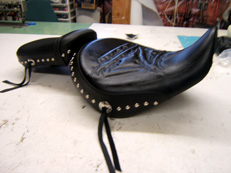 Customized Studding and Motorcycle seat stitching