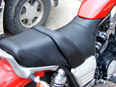 Custom motorcycle seat upholstery